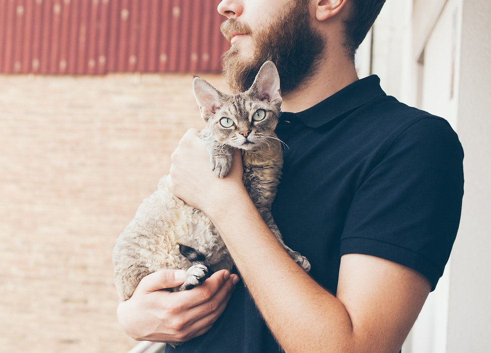 Beared man in black polo holding cat