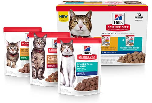 Three Science Diet Wet Cat Food Pouches and a Variety Pack Box